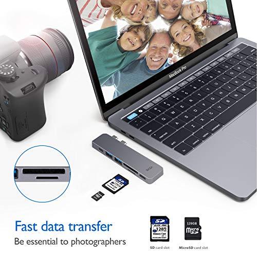 "EKSA USB C Hub Adapter, Upgraded Aluminum 7 in 1 Type C Hub for MacBook Pro 13"" and 15"" 2016/2017/2018, USB C to HDMI, Thunderbolt 3 &TF/SD Card Reader, USB-C Power Supply, 2 USB 3.0 Ports Image 5"