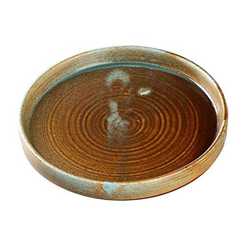 Vintage Keramik Teller japanischen Stil Suppenteller kreative Heimat Deep Dish einfache westliche Gericht Dish Dish Teller Retro Deep Plate 25,5x3,4 cm Deep Dish Pie Plate