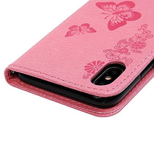 Lanveni Handyhülle für iPhone X,iPhone 10,Flip Case Cover PU Lederhülle Schutzhülle Magnetverschluss Ledertasche mit Stander Function Brieftasche Card Slot Handy Tasche mit Schmetterling Geprägt Desig Pink
