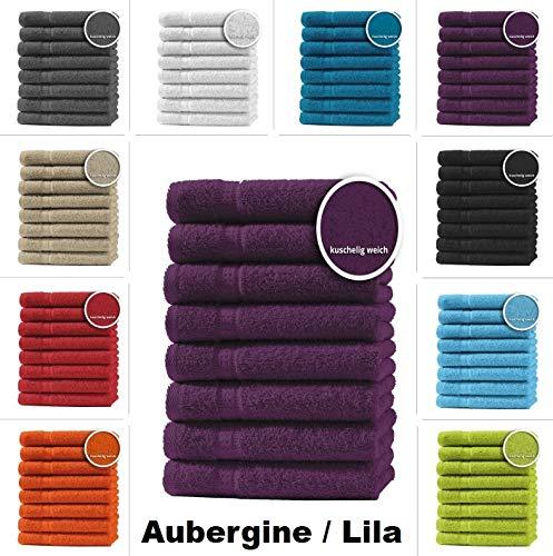 one-home 8er Set Gästetücher Handtücher Duschtücher Badetücher Frottee 100% Baumwolle, Produktart:Handtücher 50x100 cm, Präzise Farbe:Aubergine/Lila - Auberginen-handtuch-set