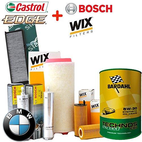 Tecneco Kit Huile Bardahl Technos C60 Exceed 5 W30 6lt 4 filtres différents BMW 118d E81 143 Cv