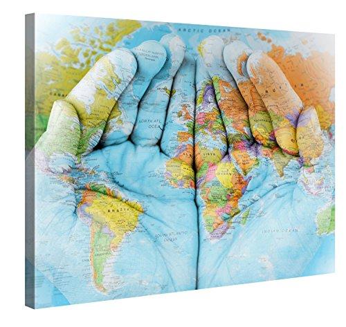 Premium Kunstdruck Wand-Bild – The World in Your Hands – 100x75cm XXL Leinwand-Druck in deutscher Marken-Qualität – Leinwand-Bilder auf Holz-Keilrahmen als moderne Wohnzimmer-Deko …