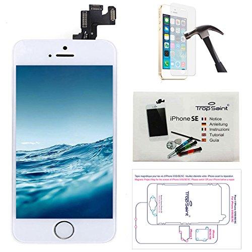 trop saint® Display Weiß für iPhone SE Bildschirm Reparaturset Kompatibel iPhone mit Magnetische Schraubenkarte, Werkzeug, Anleitung und Panzerglassfolie