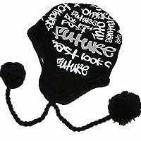 Adult Knitted PERUVIAN HAT GRAFFITTI Pom Pom M Black