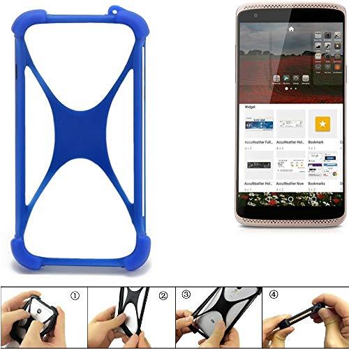 K-S-Trade Bumper ZTE Axon Mini Premium Edition Silikon Schutz Hülle Handyhülle Silikoncase Softcase Cover Case Stoßschutz, blau (1x)