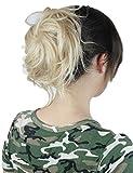 Prettyland - wild gestylter groß Dutt Haarteil Zopf Haarband Scrunchie Haargummi - BL20 helles Aschblond