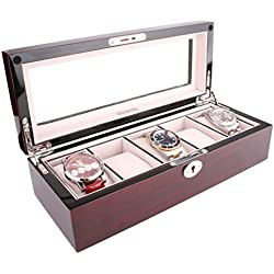 AXIS® Red Cherry Gloss Wood Storage Watch Display Box For 5 Watches