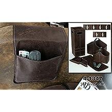 DonRegaloWeb - Soporte de mandos de polipiel para lateral sillón/sofá decorado en color marrón
