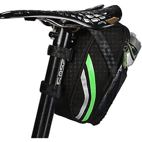 MTB bicicleta de carretera Bolsa de sillín de ciclo del Pannier del asiento del bolso de la cola de almacenamiento en rack Paquete Negro