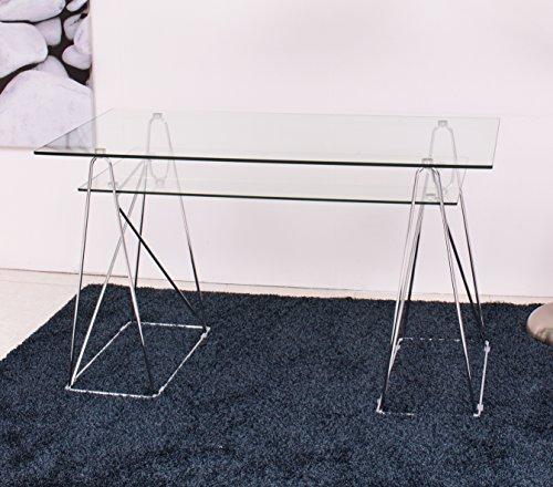 Mesa escritorio PEAKS tapa de cristal y patas de metal de 130x65 cm.