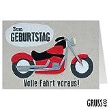 Grußkarte Filz - Motorrad - Volle Fahrt voraus! - Geburtstagskarte - 15