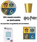 Kit Anniversaire Harry Potter 52 pièces ( 16 Assiettes, 16 gobelets, 16 Serviettes + 10 Bougies Magiques offertes) décoration fête 16 Enfants dorés