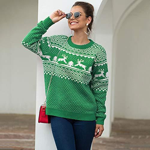 WTDZSW Modische Damenpullover Weihnachtspullover Damen Rundhalspullover Mit Langen Ärmeln Little Deer Strickpullover 1 X Pullover Grün S