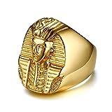 XBYEE 27MM Acero Inoxidable de fundición faraón Egipcio Anillo de Oro para Hombre