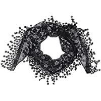 V-SOL Fulares Pañuelo Bufanda Para Mujer Dama De Boda Fiesta Negro