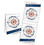 25 Stück maritimer Aufkeber STEUERRAD blau rot weiß Deko maritim - Etiketten Sticker Symbol Geschenkaufkleber Verpackung Geschenke Tischdeko Hochzeit Geburtstag Papiertüten verschließen