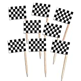 Pack of 50 Wooden Racing Checkered Flag Picks for Cupcakes, Canapés etc (50)