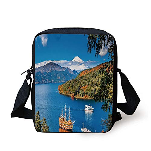 Bean Bag Mount (LULABE Pirate Ship,Lake Ashi Mount Fuji Japan Town Hakone Travel Touristic Destination Decorative,Green Blue Orange Print Kids Crossbody Messenger Bag Purse)