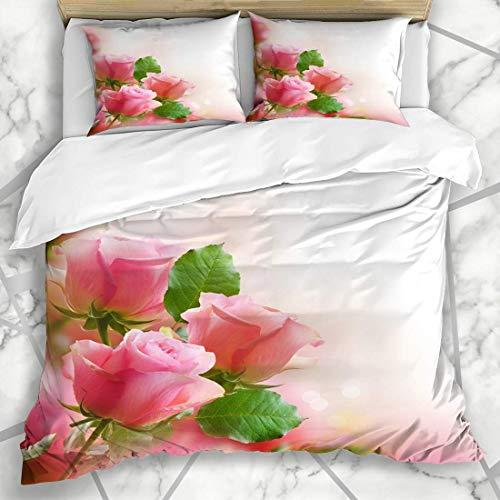 Bettbezug-Sets Stiel Pink Garden Roses Urlaub Natur Grenze Bouquet Blume Text Valentine Kopie Mikrofaser Bettwäsche mit 2 Pillow Shams -