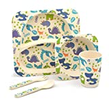Children's 5 Piece Bamboo Dinner set. Kids Plate,