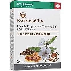 Dr.Dünner EssenzaVita 24 Pastillen 48g | Eibisch, Propolis Vitamin B2 & Vitamin C | Hals-Pastille mit feinem, natürlichem Orangenaroma | Nahrungsergänzungsmittel für normale Schleimhäute