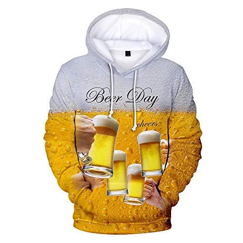 Doublehero Herren 3D Bier Druck Kapuzenpullover Tops Mode Hoodie Freizeit Bierfest Sweatshirt, Herbst Winter Langarm Kordelzug Lose Pullover Freizeitshirt Kapuzenjacke mit Taschen Bier-zip Hoodie