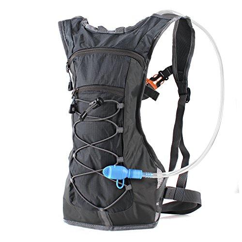 Trinkrucksack Hydrationspack mit 2L Trinkblase für Joggen, Wandern, Radfahren, Camping und Bergsteigen (Schwarz)