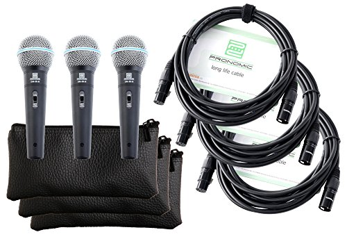 Pronomic DM-58-B Vocal Mikrofon mit Schalter 3er SET inkl. 3x 5m XLR Kabel mit Druckvollem, warmem Klang A/b-schalter