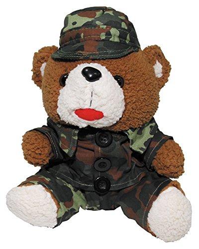 Teddybär, 28 cm, mit Anzug und Mütze, flecktarn (Bilder Von Teddybären)