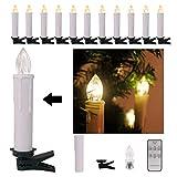 30er Weinachten LED Kerzen Kabellos Weihnachtskerzen Christbaumkerzen Dimmen Flackern Baumkerze-Set,Kerzen Lichtfarbe warmweiß