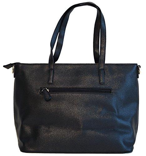 Borsa donna David Jones in ecopelle modello shopper con decorazione traforata Nero