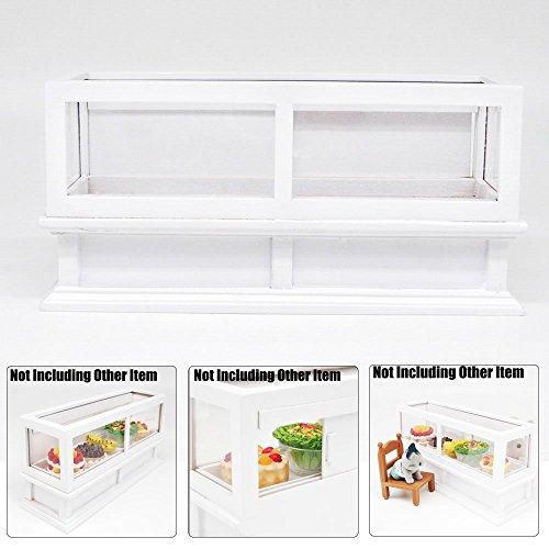Preisvergleich Produktbild Odoria 1/12 Miniatur Ladenmöbel Lange Laden Schaukasten mit Schiebetüren Weiß Holz Für Puppenhaus Möbel Zubehör