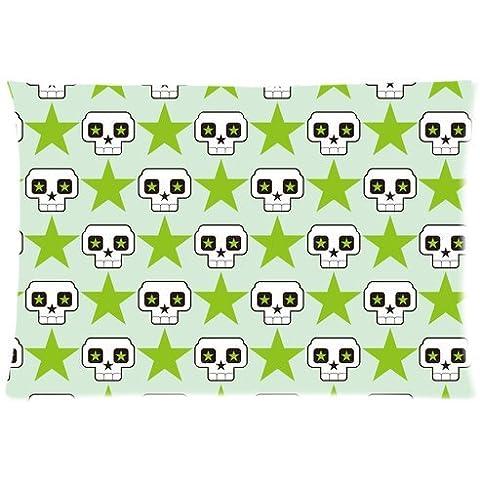 Cráneo y verde con cremallera personalizada de estrellas de cinco puntas de cama fundas de almohada cubierta almohada 20 x 30 (lados dobles)