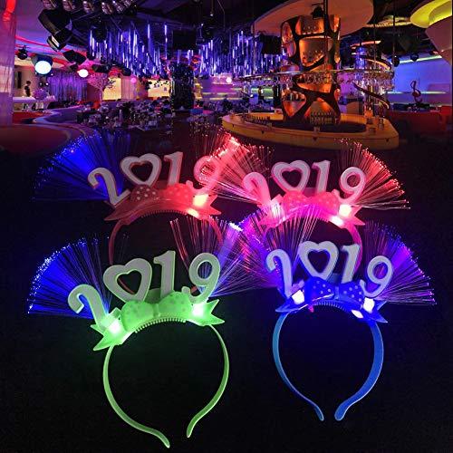 SEGRJ LED-Haarreifen, optischer Faser, Leuchtend, 2019, Party-Dekoration, zufällige Farbe Zufällige Farbauswahl