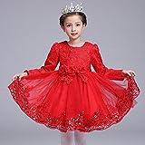 RENQINGLIN Filles Robe Princesse Robe Blanche Longue Robe De Gaze Tutu Habillez Les Enfants Fille Flower Dress 110Cm-160Cm,130Cm,De Gueules