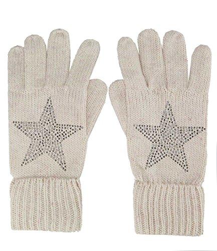 caripe Strick Handschuhe Strickhandschuhe Strass Nieten Stern -df55