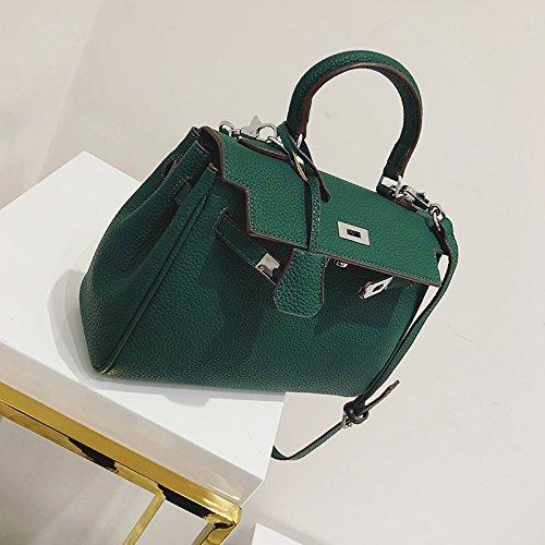 Zazero Neue reine Farbe Satchel Bag classic retro Platin Tasche Persönlichkeit Sperren einzelner Schultertasche, grün (Satchel Mini Classic)