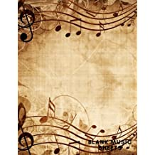 """Blank Music Sheets 8.5""""x11"""": Rustic Music Manuscript 