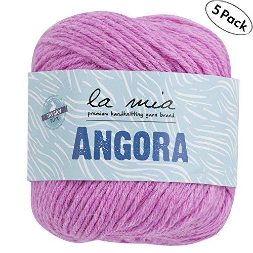 5Ball La Mia Angora Wolle insgesamt 8.8OZ jedes Riegel oz (50g)/1362,7m (125m), 15% Angora, light-dk Premium Garne, 5 Pack Pink - L107 (Angora Garn Kaninchen)