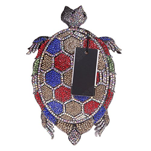 Santimon Clutch Delle Donne Tartaruga Mini Dimensione Carina Diamante Cristallo Borse Da Festa di Nozze Sera Con Tracolla Amovibile e Pacco Regalo 3 Colori multicolore