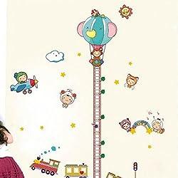 LINGJUN DIY Pegatina de Pared Extraible e Impermeable Regla de Medida de Altura Crecimiento de Niños Decoración Habitación Dormitorio Sala (Mono)