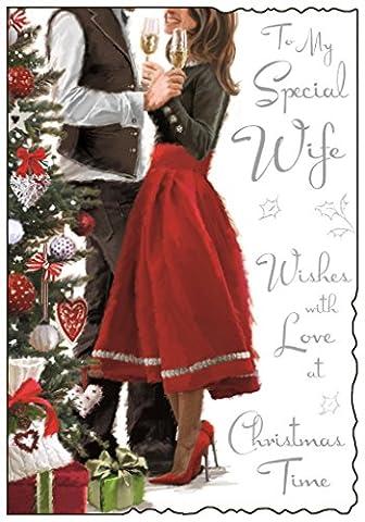 Jonny Javelin Frau Weihnachten Card–Paar, Xmas Tree & Tiny Geschenk 22,9x 15,9cm