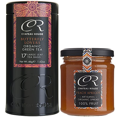 Chateau Rouge - Organic Butterfly Lovers Green Tea Bags & Peach Apricot Jam Set