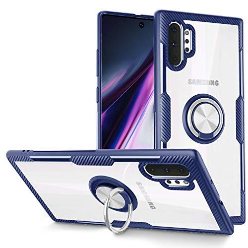 SQMCase Galaxy Note 10+ Pro/Plus/5G Hülle, Samsung Galaxy Note 10+ Pro Hülle, Carbonfaser-Design Kristallklare Hülle mit drehbarem Fingerring-Ständer [Arbeiten mit magnetischer Autohalterung],Blau