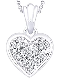 "Peora Sterling-Silver Pendant With FREE 18"" Chain For Women Girls"