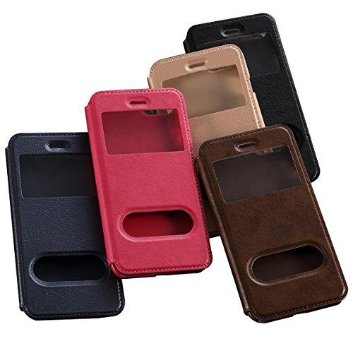 """iPhone 7 Plus 5.5"""" Coque, SHANGRUN PU Cuir Housse Coque Fenêtre d'ouverture Case Flip Cas de Protection Portable Skin View Window Etui Cover pour iPhone 7 Plus 5.5"""" Marron Saphir"""