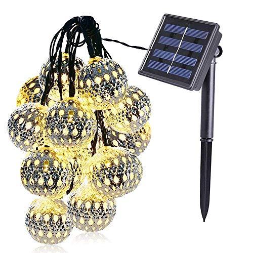 VOVOVO marokkanische LED Kugel Lichterkette 50 Silber Metall Kugel 7m Lange Warmweiß Batteriebetrieben Innen Beleuchtung Dekoration für Party, Weihnachten, Halloween, Zimmer ()