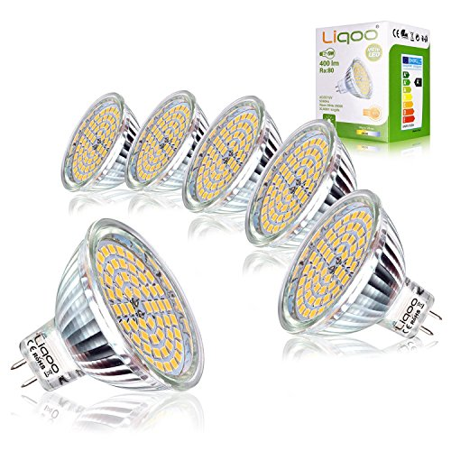 Liqoo 6er MR16 GU5.3 LED Lampe Warmweiß AC DC 12V Ersetzt 35W Halogen Lampen GU 5.3 GU10 2800K 5W 400 Lumen LED Birne Leuchtmittel 120° Abstrahwinkel Ø 50 x 48 mm - Mr16 Lampe