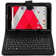DURAGADGET Etui aspect cuir noir + clavier AZERTY pour CDISPLAY Tablette Tactile 8'' Full HD par Cdiscount et Haier (sortie 2016) + stylet tactile BONUS - Garantie 2 ans