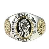 Beydodo 925 Silber Ring Männer mit Gravur Totem Hand des Gebets Freundschaftsringe Silber Ring Herren Größe 53 (16.9)